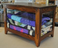 quilt display case | Frame and panel construction (glass on front and both sides, oak ply ...