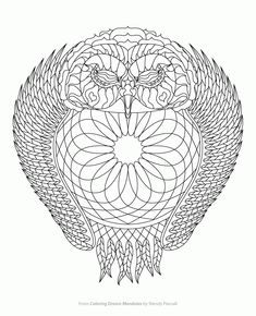 Owl Dreamcatcher Coloring Page from Coloring Dream Mandalas by ...