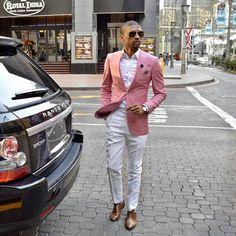 Mens Fashion Blazer, Suit Fashion, Kids Fashion, Formal Smart Casual, Men Casual, Pink Blazer Outfits, Men Dress Up, Business Casual Men, Mode Chic