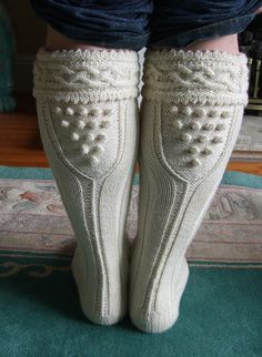 Splendid Aran cornish kilt hose socks by The Knitting Witch