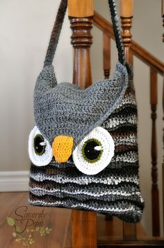 Owl Be Your Buddy Pillow Cover/Sleepover Bag Crochet pattern by Sincerely Pam Bag Crochet, Crochet Purse Patterns, Crochet Shell Stitch, Crochet Handbags, Crochet Purses, Love Crochet, Knitting Patterns, Crochet Owls, Bag Patterns