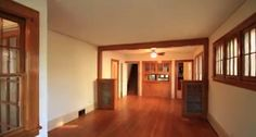 living room and dining room with built in china cabinet