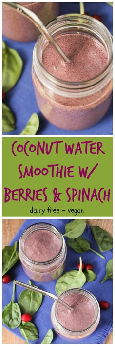 Coconut Water Smoothie w/ Berries & Spinach - the perfect smoothie to rehydrate you and load you up on nutrients after an illness. Or to keep you feeling your best any time of the year!