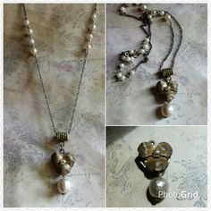 Vintage Miriam Haskell earring becomes focal piece in this new necklace ♡ Custom Jewelry, Vintage Jewelry, Miriam Haskell, Custom Items, Artisan, Pendant Necklace, Day, Earrings, Handmade