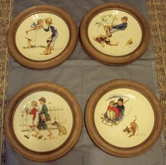 1972 Norman Rockwell Four Seasons Series Plates w/Frames to Hang Gorham USA Made