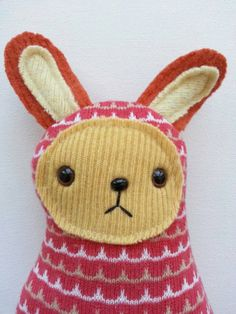 Lacy Crosby the Easter Bunny // upcycled plush by sarahbrown