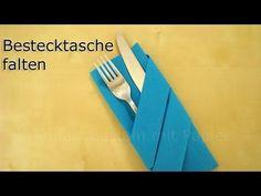 Servietten falten: Bestecktasche falten z.B. für Hochzeit & Geburtstag - Einfache Tischdeko - YouTube