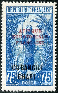 """Ubangi-Chari 1925 Scott 62 75c deep blue & light blue """"Bakalois Woman"""" Color Type of Middle Congo 1907-22, Overprinted in Black With Additional Overprint in Red"""