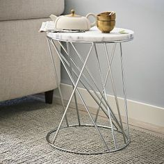 Random Base Side Table   Marble Ace Of Base. A Modern, Sculptural Form,