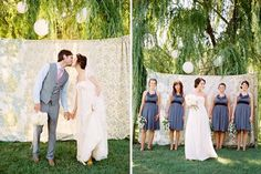 photos in front of vintage table cloths