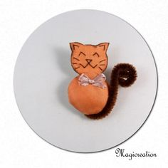 broche chat orange noeud saumon - Boutique www.magicreation.fr