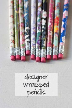Quick and Easy DIY Crafts to Make and Sell | Designer Wrapped Pencils by DIY Ready at http://diyready.com/18-more-easy-crafts-to-make-and-sell/