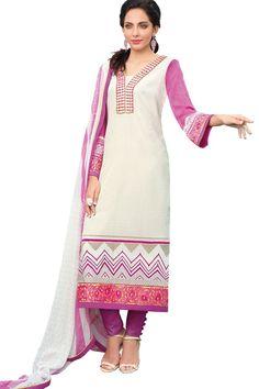 Cream Color Crepe Designer Dress Material