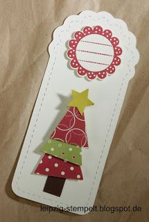 Leipzig stempelt - mit Stampin' Up!®: Anleitungen Tags, christmas, Weihnachten Christmas Scrapbook, Stampin Up Christmas, Christmas Gift Tags, Xmas Cards, Handmade Christmas, Christmas Crafts, Fabric Labels, Stampinup, Journal Cards