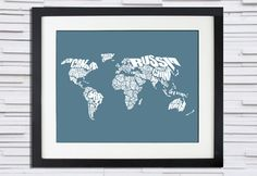 World Word Map  A typographic text map of the Countries by inkofme, $15.00