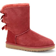 UGG Australia Women's Bailey Bow Redwood Boots ($205) ❤ liked on Polyvore featuring shoes, boots, ankle boots, red, lightweight shoes, red short boots, ugg® australia shoes, bootie shoes and red shoes