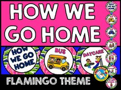 FLAMINGO CLASSROOM DECOR: HOW WE GO HOME CHART IN A FLAMINGO THEME (DISMISSAL CHART)  Monitor each child's dismissal in your class by using this fun flamingo themed clip chart. A great tool to keep track of your students' dismissal and to make it run smoothly. Perfect to aid substitute teachers in case you miss school!   Simply print, laminate and attach to a ribbon. Place clothes pins with each child's name on the relevant section. Easily move the pins to reflect any changes of…