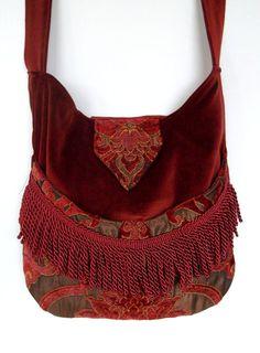 Burgundy and Rust Tapestry Gypsy Bag Rose Fringe Bag Bohemian  large bag renaissance bag messenger bag medieval bag