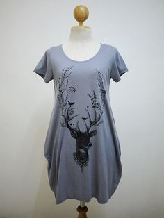 Pretty Deer of The Forrest  : Deer Reindeer Bird Vine Nature Dress Side Pocket TShirt Tunic Soft Blue Color Balloon Screen Print Cotton