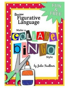 Figurative Language Collage Bingo for review or end of year fun! FREEBIE
