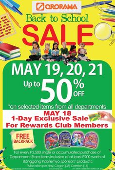 This coming May 19, 20, and 21, Ororama Shopping Center will be holding a back-to-school sale in all its branches here in Cagayan de Oro City. Ororama is offering discounts of up to 50%! And guess what! This 50% discount is not just applicable to Ororama's school supplies department but for all departments. #backtoschoolsale #shopatororama