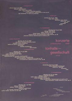 Muller-Brockmann, Josef poster: Konzerte tonhalle gesellschaft 1969
