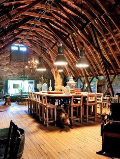 """Designer Barry Dixon's Garden and Grounds Sounds like this was created for a """"party"""" barn. But what a great """"house"""" barn. Converted Barn Homes, Barn Loft, Barn Renovation, Barn Living, Virginia Homes, Wood Beams, Old Barns, Log Homes, Traditional House"""