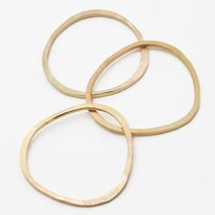 Pebble Rings in 14k Gold Fill, Set of Three - Recycled Metal
