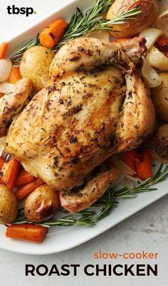 The secret to a moist and flavorful roast chicken? Cook it in the slow cooker! Line slow cooker with potatoes, carrots and onions, add a chicken, and cook. A classic meal with minimal effort and clean up.
