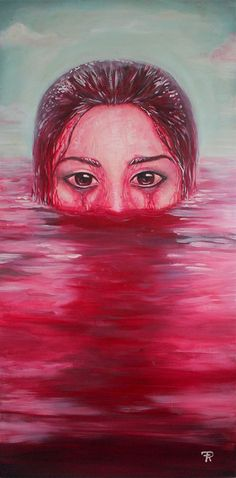 """Destination"" 2014 - Acrylic on canvas - By Francesca Radicetta - Bloody painting, blood bath, young woman with big eyes in a lake of blood Big Eyes, Drawing Reference, My Works, My Drawings, Disney Characters, Fictional Characters, Blood, Animation, Bath"