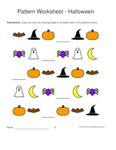 halloween pattern worksheets for kids 1 2 3 pattern draw and color