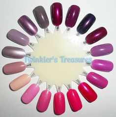 kiko 495 Pearly Vanda Burgundy, 496 Imperial Purple, 497 Pearly Indian Violet, 498 Pearly Cherry Purple, 499 Dahlia Mauve, 500 Pearly Oleander Pink, 501 Pink Iguana, 502 Pearly Mexican Pink, 503 Ginger Pink, 504 Pearly Glaze Pink, 505 Pearly Honeysuckle Pink, 506 Venus Pink, 507 Blush, 508 Rose Sand, 509 Metallic Rose Mauve, 510 Mauve Gray, 511 Metallic Mercury Purple, 512 Metallic Rosy Taupe