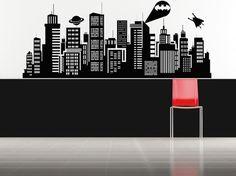 Batman, Superman, Daily Planet, Skyline - etiqueta, etiqueta engomada, vinilo, pared, hogar, decoración de dormitorio del niño