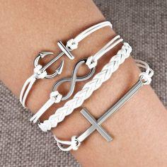 Bracelets Infinity Anchor Sideways Cross White Braided Leather Rope Bangle Bracelet Image