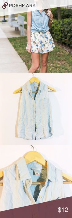Blue chambray sleeveless button up shirt Get the look! Super soft from merona for Target. No stains. Merona Tops