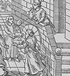 "Part of an English Print from 16th Century  showing children making and catching bubbles  From ""A History of Toys"" by Antonia Fraser"
