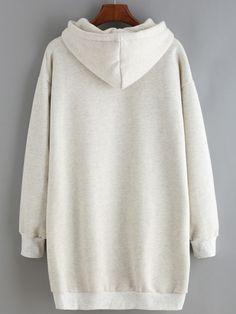 Light Grey Hooded Split Loose Sweatshirt Dress