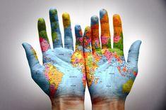 The world is in my hands. The world is in my hands. I will not be a loser. The world is in my hands. We Are The World, My World, Hand Kunst, Quelques Photos, Map Globe, Thinking Day, Hand Art, Beautiful World, Beautiful Places