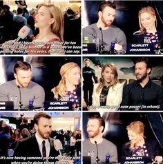 They're so cute together ! Marvel Dc Movies, Marvel Jokes, Marvel Actors, Marvel Funny, Marvel Characters, Marvel Avengers, Chris Evans Scarlett Johansson, Best Avenger, Romanogers