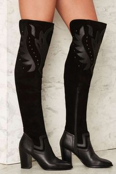 Fan the Flames Over-the-Knee Leather Boot - Boots + Booties | Best Sellers | Party Shoes | All Party | Black Friday Shoes | Shoes