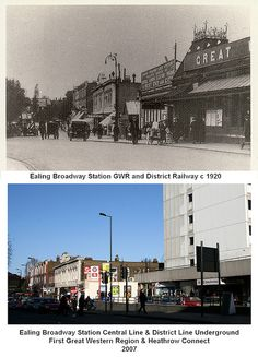 The railways were subject to many changes in the history of this station and the caption below the modern picture shows the latest situation, with both the London Underground and main railway system sharing the station. Vintage London, Old London, West London, London History, Local History, Family History, Acton London, Modern Pictures, Great Western