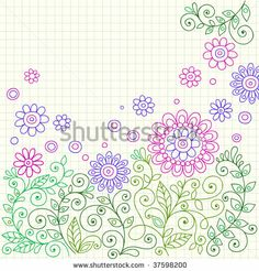 Hand-Drawn Henna Flower Doodles on Graph (Grid) Paper Background- Vector Illustration - stock vector