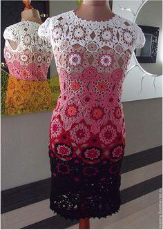 """Купить Вязаное платье """"Яна"""" - нарядное вязаное платье, платье крючком, платье вязаное"""