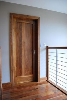 Solid Walnut door with solid shaker panel to centre mcnally joinery.ie internal doors Interior Columns, Interior Barn Doors, Exterior Doors, Wood Closet Doors, Pantry Doors, External Hardwood Doors, Walnut Doors, Shaker Doors, Traditional Doors