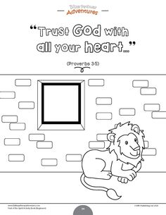 Trusting God coloring page | Fruit of the spirit lessons for kids activities | Instant download! Bible Resources, Bible Activities, Kindergarten Activities, Free Bible Coloring Pages, Coloring Pages For Kids, Sunday School Lessons, Lessons For Kids, Sabbath School Lesson, Daniel And The Lions