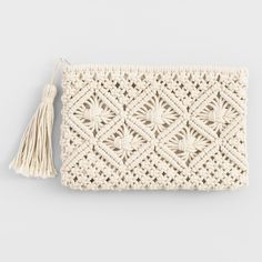 Cost Plus World Market Ivory Macrame PouchThis unique pouch features textured, intricate macrame.Pretty leather and macrame purse.Boho Bags, Hats, and Hair AccessoriesA sweet summer staple, our Carly dress features intricate crochet patterns and tass Macrame Purse, Macrame Knots, Knitting Projects, Knitting Patterns, Crochet Patterns, Diy Macrame Wall Hanging, Macrame Mirror, Macrame Curtain, Crochet Clutch