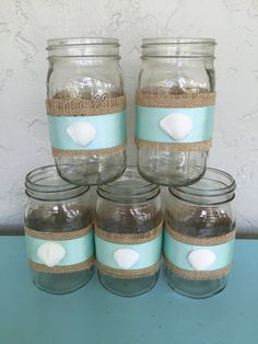 Set Of Five Beach Wedding Centerpieces, Beach Wedding Decor, Beach Wedding Mason Jars, Set Of Five by LCFloral on Etsy