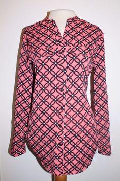 Elementz Top S Pink Black White Geometric Floral Convertible Sleeve Tunic Blouse #Elementz #Tunic #Casual