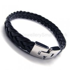 Titanium   Leather Plait Bracelet 17308