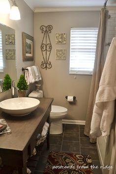 Hall bath renovation reveal and details Nice Taupe Bathroom ~ Postcards from the Ridge: Hall bath renovation reveal and details - Colorful Toupee Hairs Blue Bathroom Paint, Bathroom Colors, Small Bathroom, Bathroom Ideas, Downstairs Bathroom, Blue Bathrooms, Bathroom Niche, Vanity Bathroom, Bath Ideas